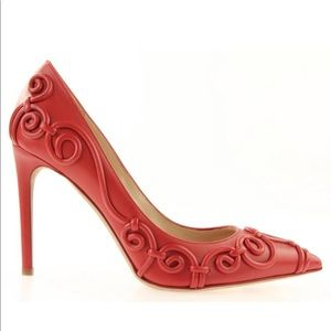 Valentino embossed red leather pumps 37.5